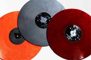 Brightly coloured vinyl LPs