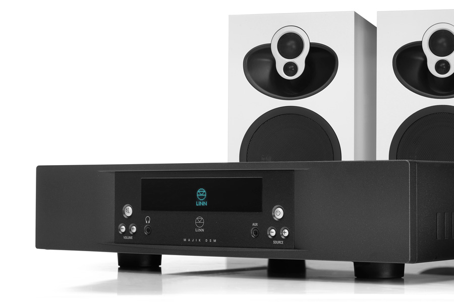 Black Majik DSM network music player and white Majik 109 speakers