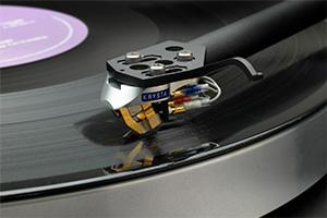 Linn Krystal cartridge on an LP12 record player.